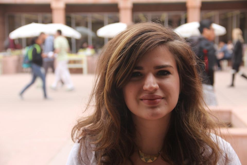 Mollie Connelly in front of one of her favorite campus spots: the library. / Photo by ASU Now