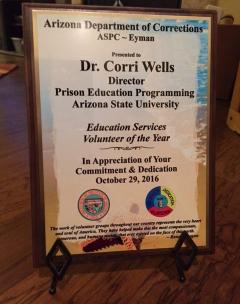Cornelia Wells was named 2016 Volunteer of the Year at the Arizona State Prison Complex at Eyman. / Photo courtesy Cornelia Wells.